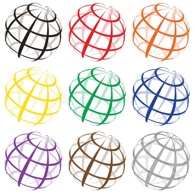 Download Verschillende De Wereldemblemen Van De Kleurendraad Vector Illustratie - Illustratie bestaande uit ronde, aarde: 39115335