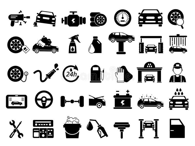 Verschillende details van auto Geplaatste de pictogrammen van de autodiensten stock illustratie