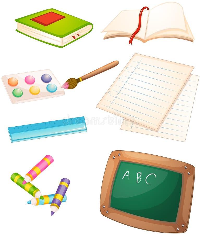 Verschillende die dingen in de school worden gebruikt royalty-vrije illustratie