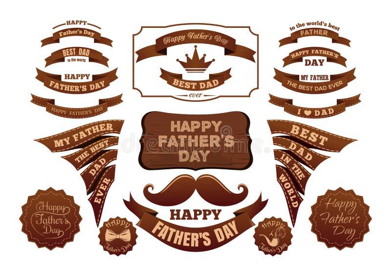 Verschillende die etiketten en linten voor Vadersdag worden geplaatst royalty-vrije illustratie