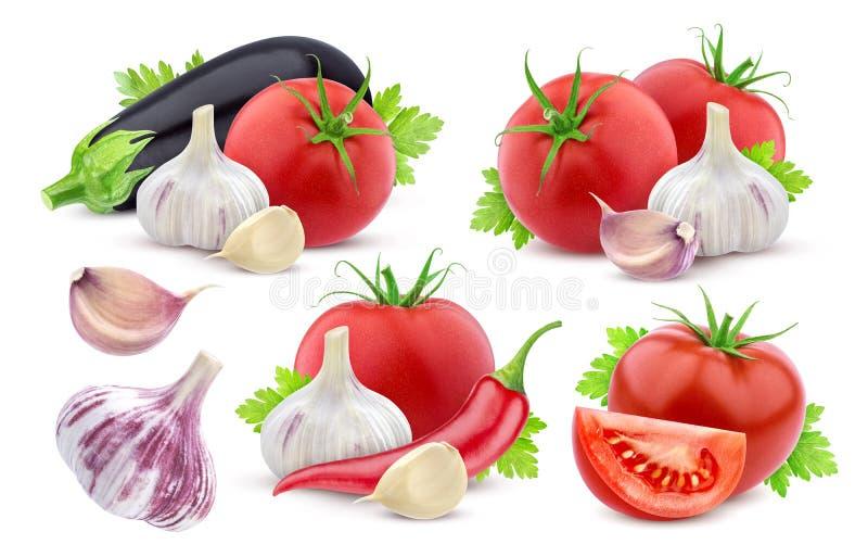 Verschillende die groenten op witte achtergrond worden geïsoleerd inzameling stock foto's