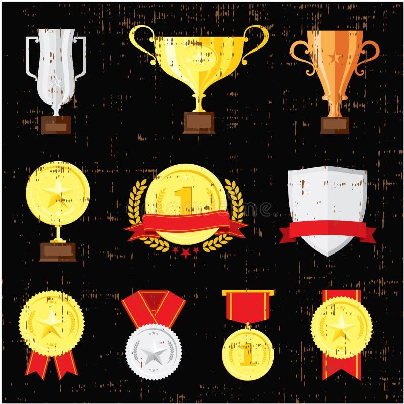 Verschillende die koppen op zwarte achtergrond worden geplaatst Gouden, zilveren en bronstrofeeën vector illustratie