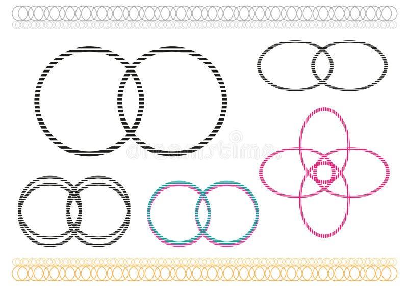 Verschillende die pictogrammen door overlappende cirkels worden gevormd Het art. van de Editableklem vector illustratie