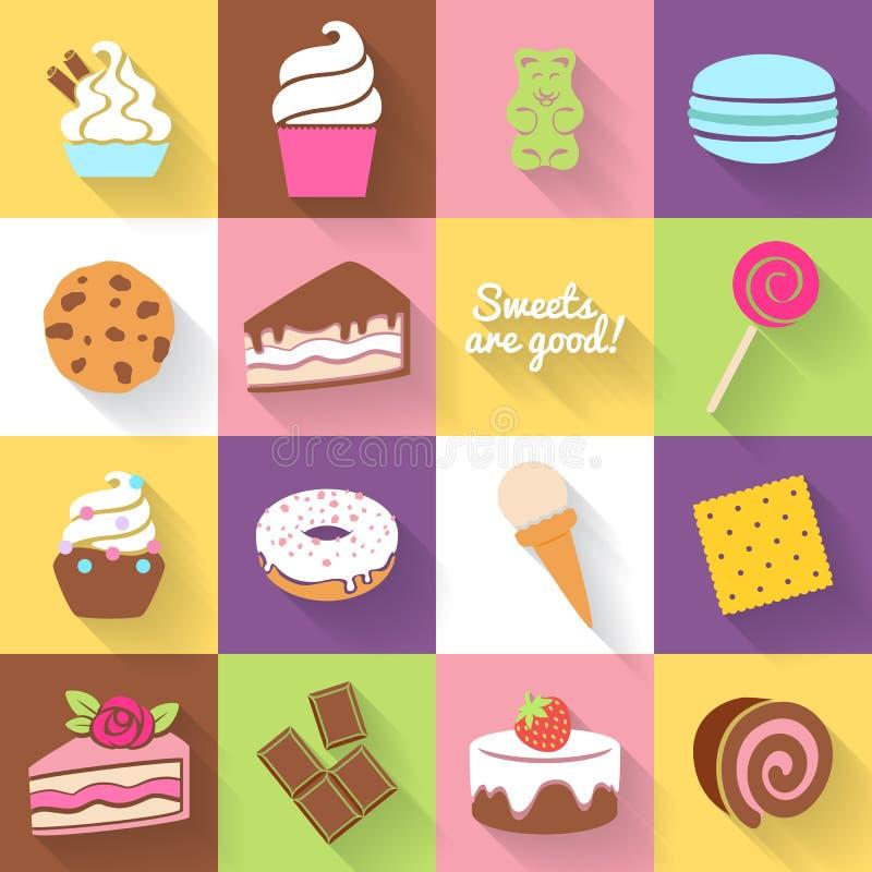 Verschillende die snoepjespictogrammen in vlakke stijl worden geplaatst vector illustratie