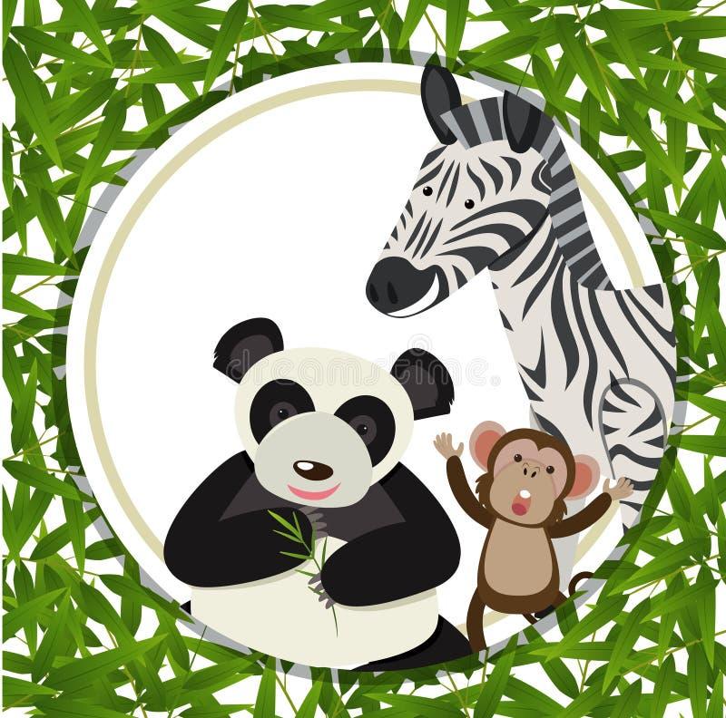 Verschillende dieren binnen een bamboekader stock illustratie
