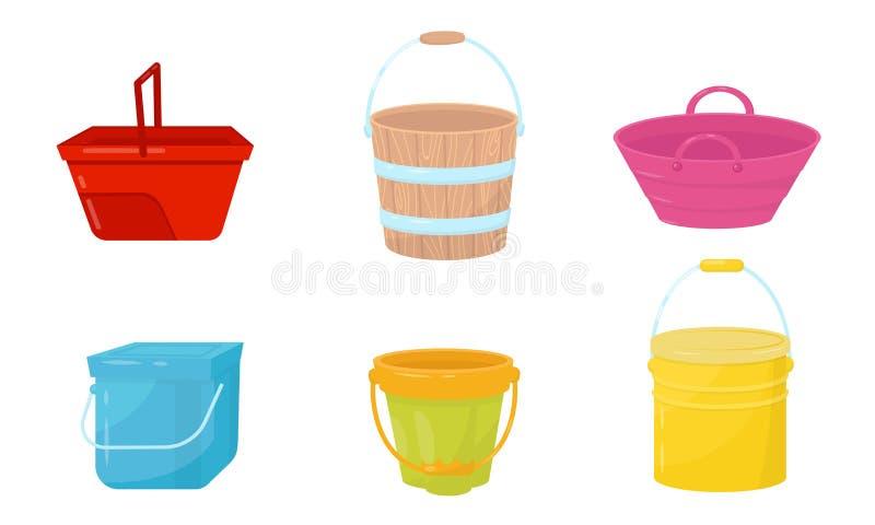 Verschillende Emmers en nuttig in de Vector van de Containers van de Huishouden van de Vector Illustrated Reeks vector illustratie