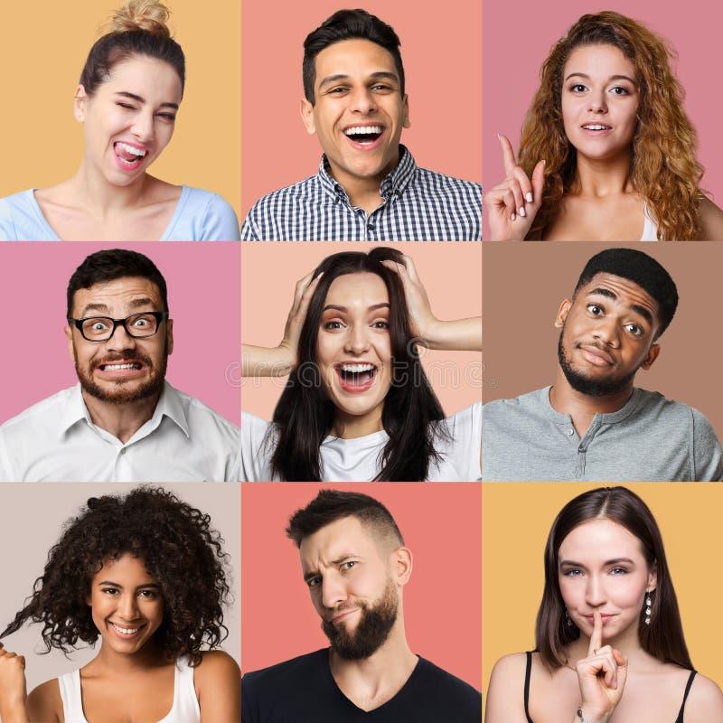 Verschillende emotiescollage stock foto
