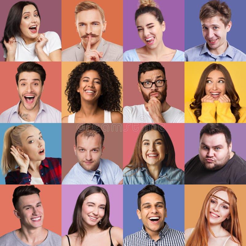 Verschillende emotiescollage royalty-vrije stock afbeeldingen