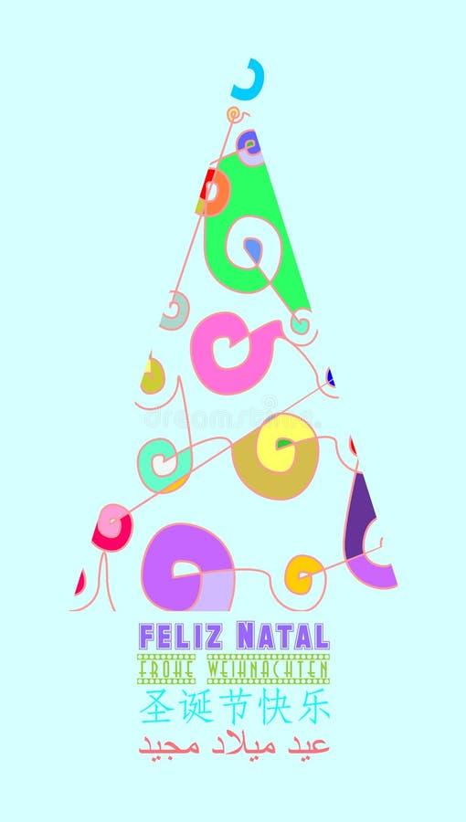 Verschillende en kleurrijke die Kerstkaart met abstracte Kerstmisboom wordt verfraaid in verscheidene talen het lichtblauwe PORTU stock illustratie