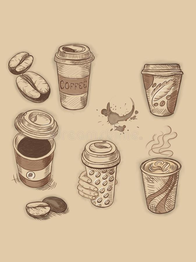 Verschillende en mooie koffiekoppen royalty-vrije illustratie