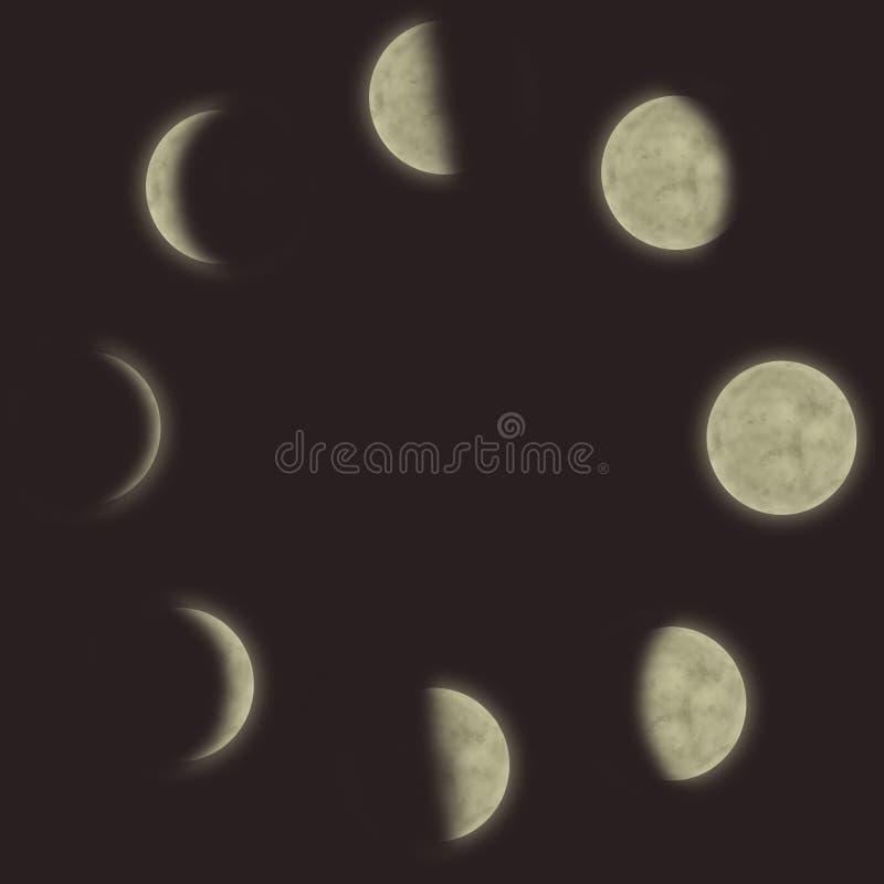 Verschillende fasen van de maan stock illustratie