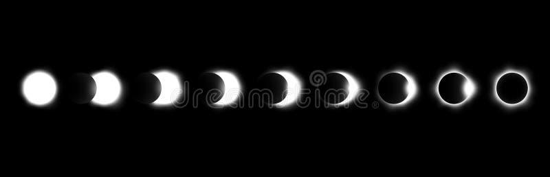 Verschillende fasen van zonne en maanverduistering Vector vector illustratie