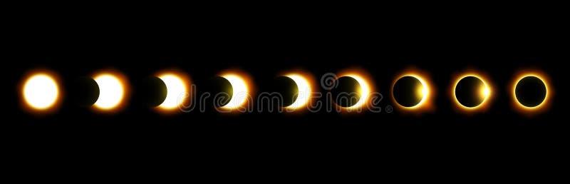 Verschillende fasen van zonne en maanverduistering Vector royalty-vrije illustratie