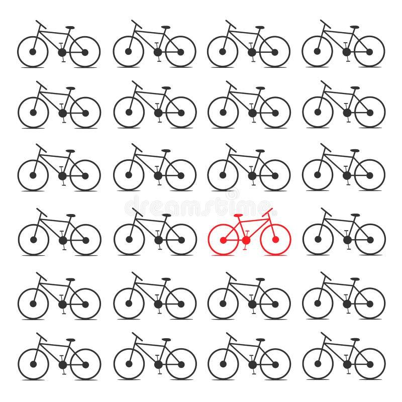 Verschillende fiets Tegenovergesteld concept royalty-vrije illustratie