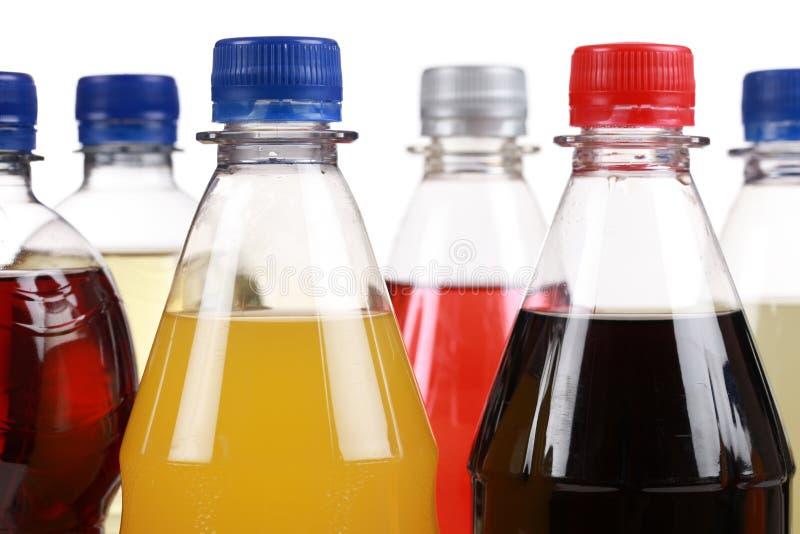 Verschillende flessen met soda royalty-vrije stock afbeeldingen