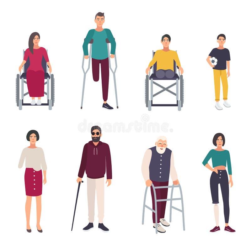 Verschillende gehandicapten Geplaatste beeldverhaal vlakke illustraties royalty-vrije illustratie