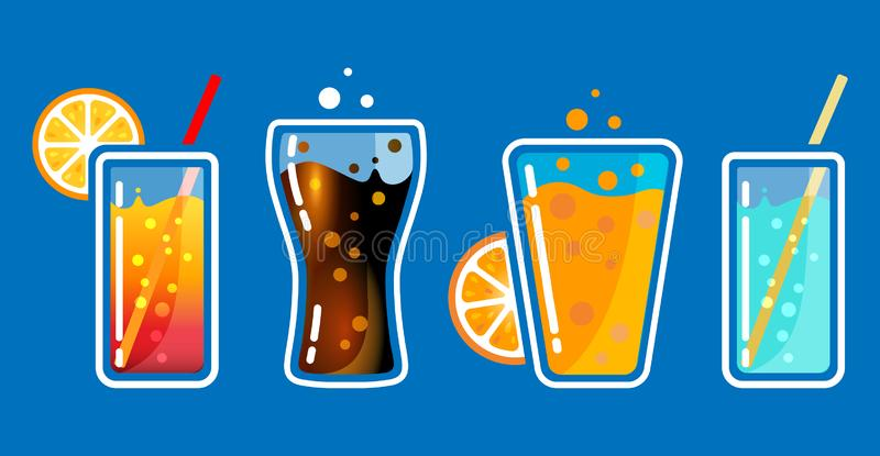 Verschillende gekleurde glazen met sodadranken met bellen en buizen De vectorillustratie van de cocktailbar royalty-vrije illustratie