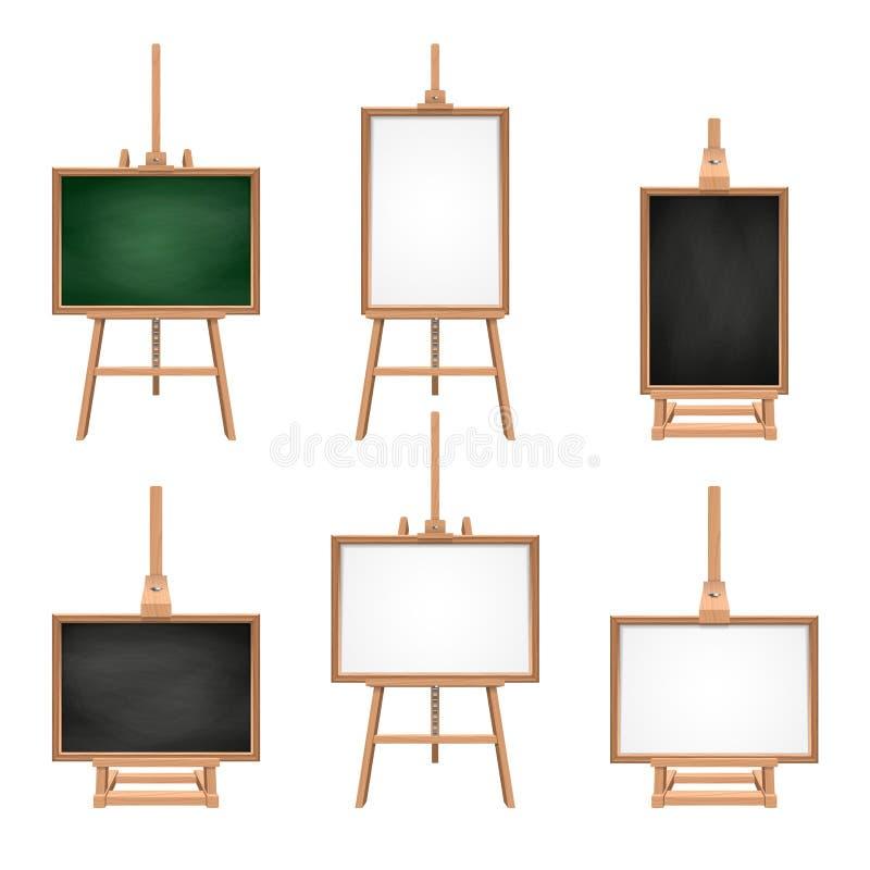 Verschillende gekleurde lege raad die zich op schildersezels bevinden De vectorbeelden isoleren op wit royalty-vrije illustratie