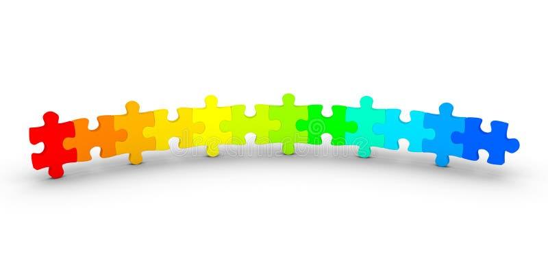 Verschillende gekleurde verbonden raadselstukken stock illustratie