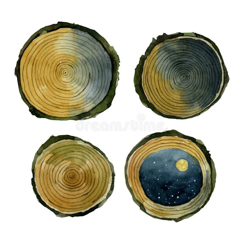 Verschillende gele besnoeiingen houten waterverf royalty-vrije illustratie