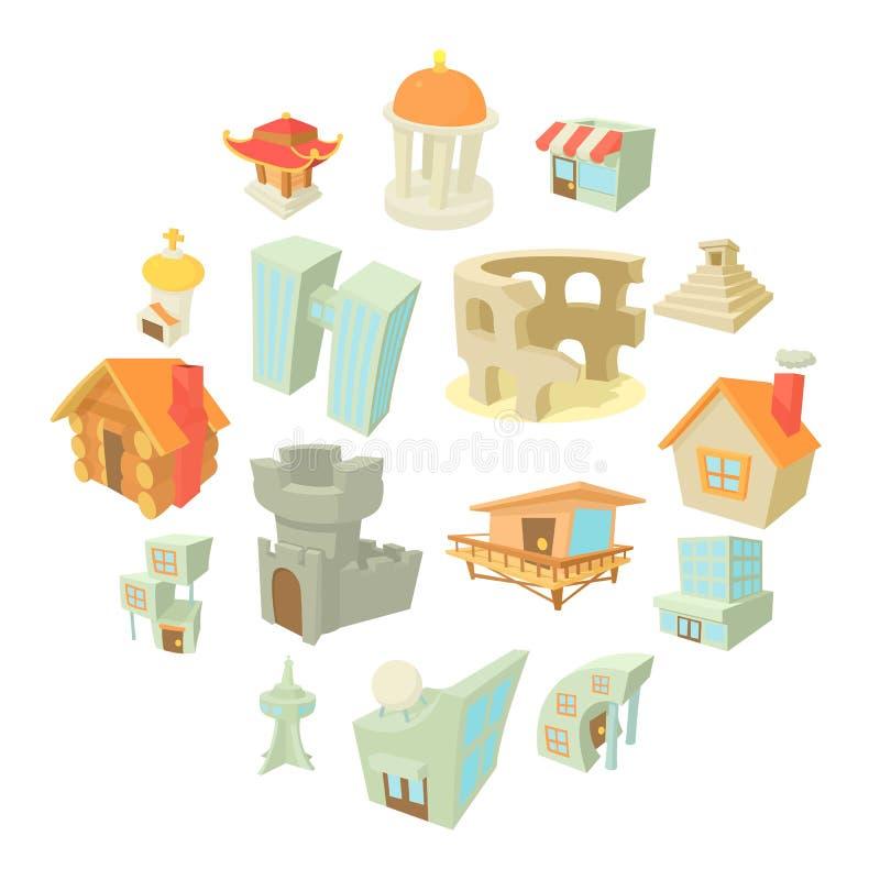 Verschillende geplaatste architectuurpictogrammen, beeldverhaalstijl royalty-vrije illustratie