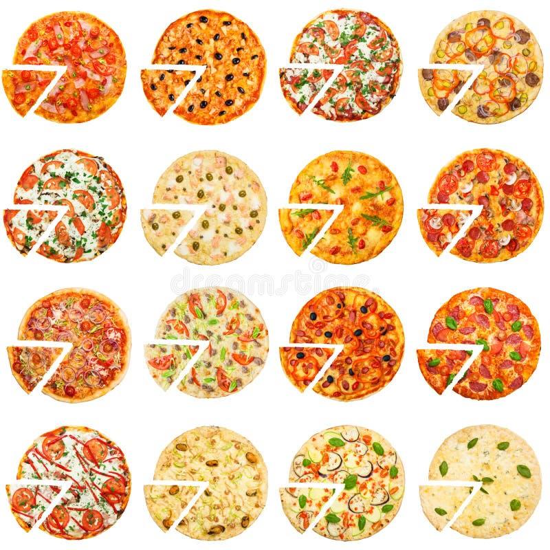 Verschillende geplaatste pizza's, hoogste mening stock afbeeldingen