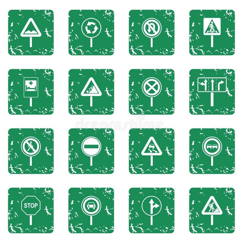 Verschillende geplaatste verkeerstekenpictogrammen grunge vector illustratie
