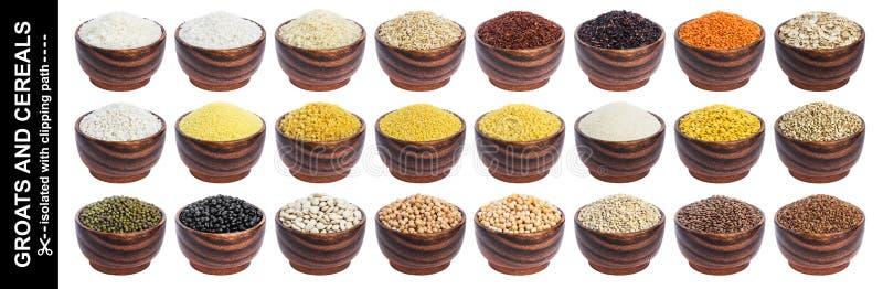 Verschillende graangewassen, korrels en vlokken die op witte achtergrond met het knippen van weg worden geïsoleerd stock afbeelding