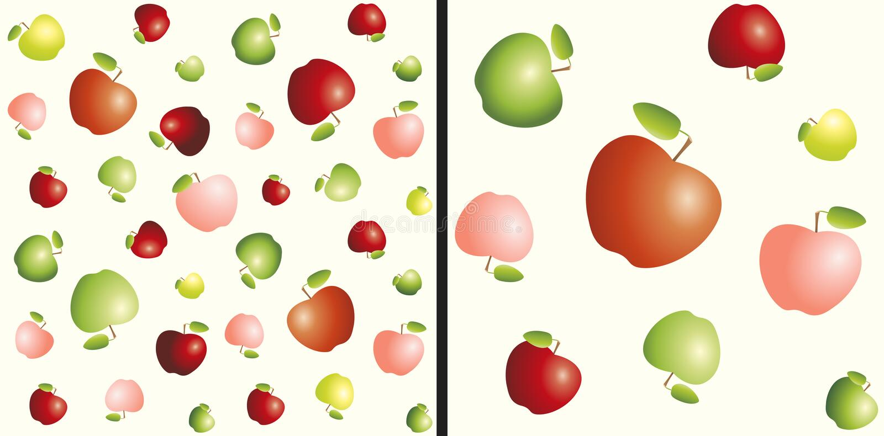 Verschillende grootte rode, gele en groene appelen Naadloos patroon vector illustratie