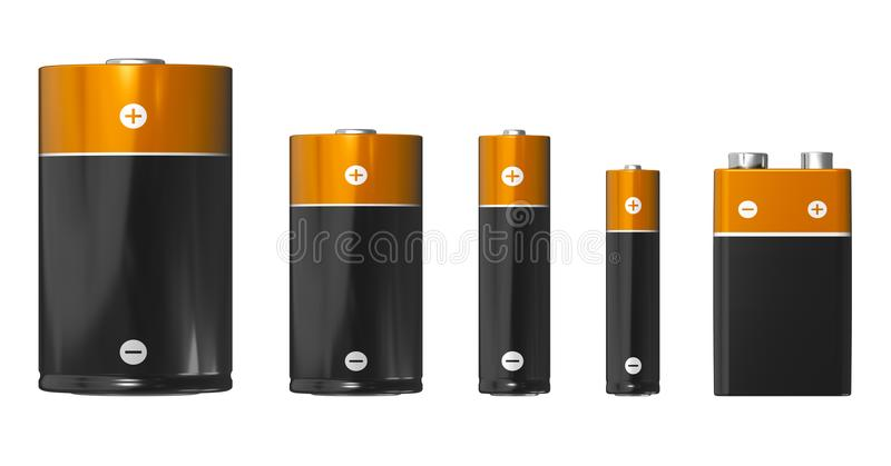 Verschillende grootte van batterijen: D, C, AA, AMERIKAANSE CLUB VAN AUTOMOBILISTEN EN PP3 9V royalty-vrije illustratie