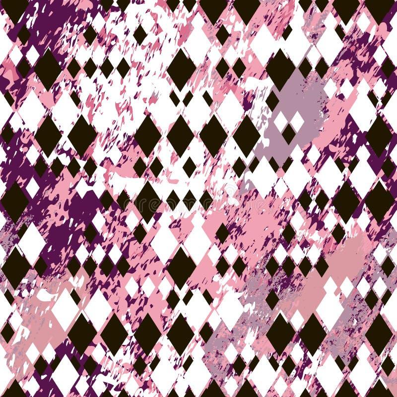 Verschillende grootte zwart-witte ruiten op roze marmeren geweven achtergrond royalty-vrije illustratie