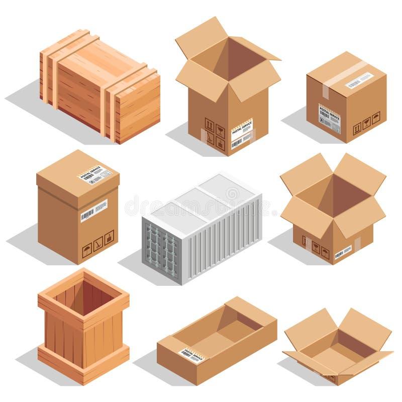 Verschillende grote leveringspakketten Gesloten pakhuis of verschepen en het openen dozen Isometrische vectorillustraties stock illustratie
