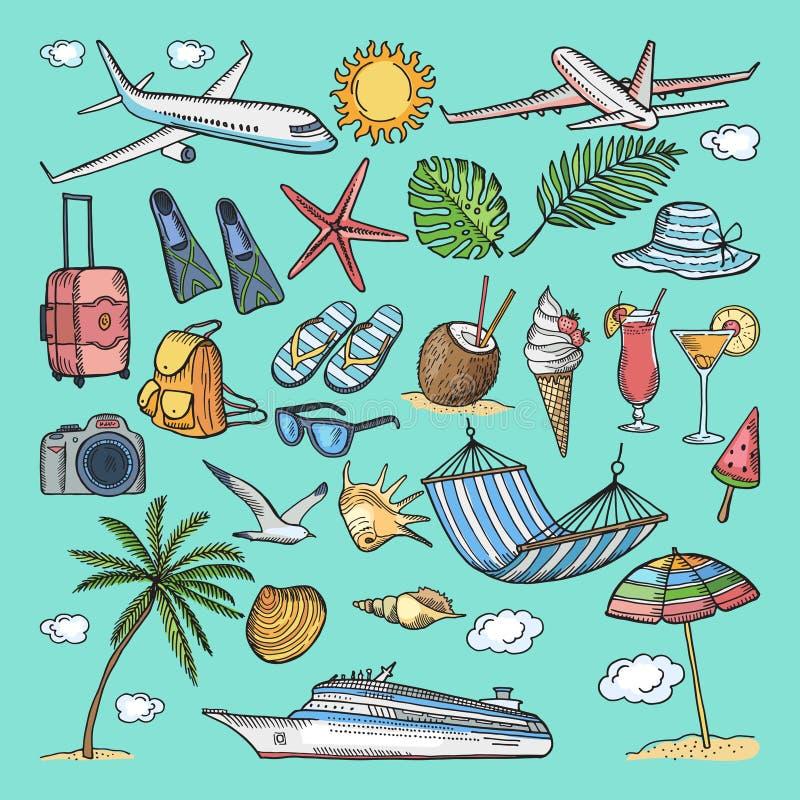 Verschillende hand getrokken kleurende geplaatste de zomerpictogrammen Tropische illustraties Pantoffels, cocktail, bikini en and vector illustratie