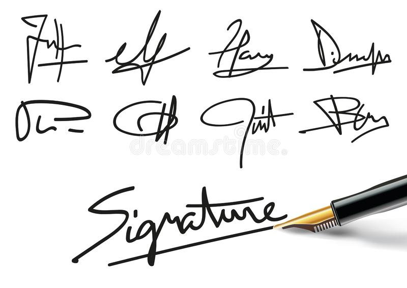 Verschillende handtekeningen om professionele contracten of administratieve documenten te illustreren stock illustratie