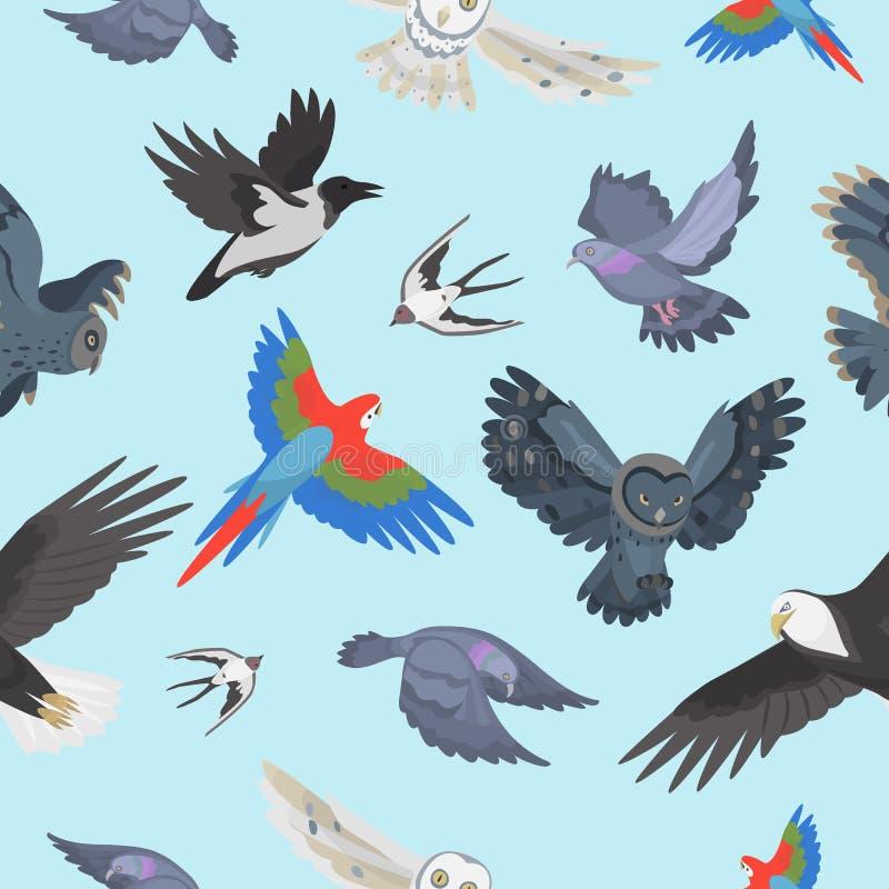 Verschillende het patroon van vleugel wilde vliegende vogels naadloze vectorillustratie als achtergrond royalty-vrije illustratie