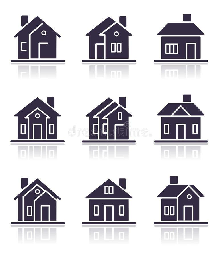 Verschillende huispictogrammen vector illustratie