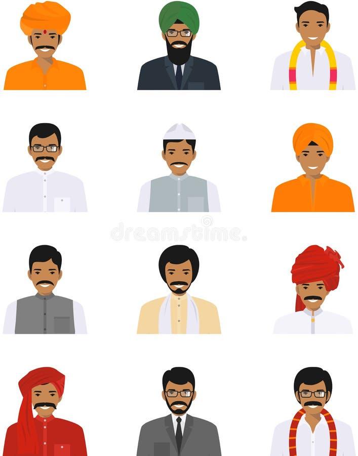 Verschillende Indische die avatars van mensenkarakters pictogrammen in vlakke die stijl worden geplaatst op witte achtergrond wor stock illustratie