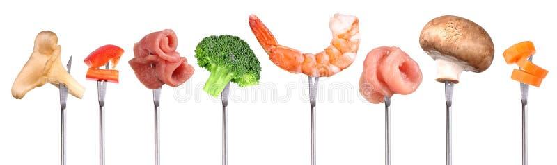 Verschillende ingrediënten voor fondue royalty-vrije stock afbeeldingen