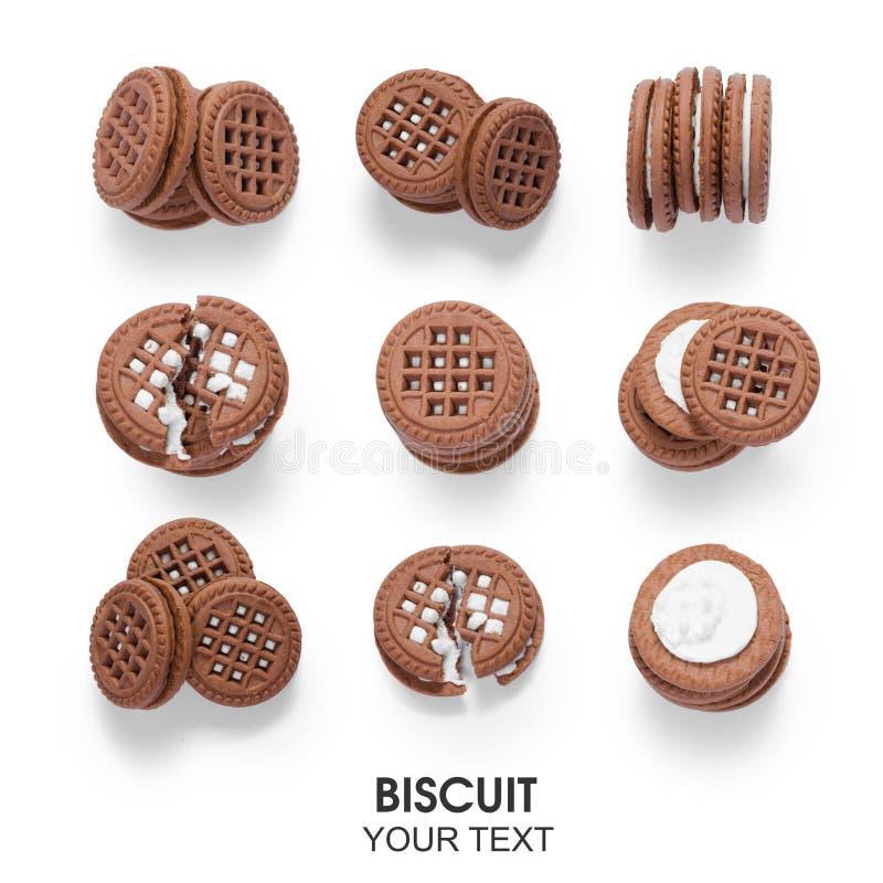 Verschillende kanten naadloze berekening van de chocoladepatroon van het koekjeskoekje royalty-vrije stock foto's