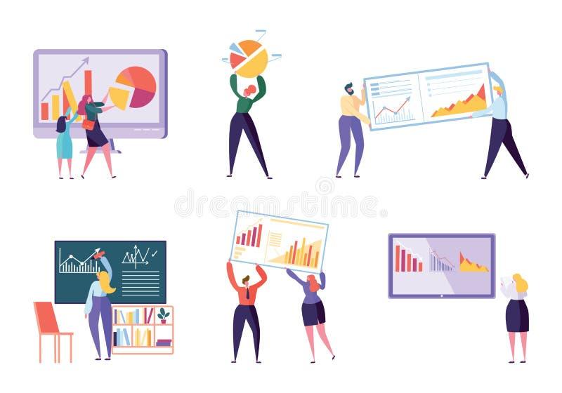 Verschillende Karakterbedrijfsanalyst Set Mensen royalty-vrije illustratie