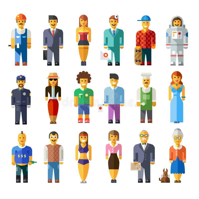 Verschillende karakters van beeldverhaal de vector vlakke mensen stock illustratie