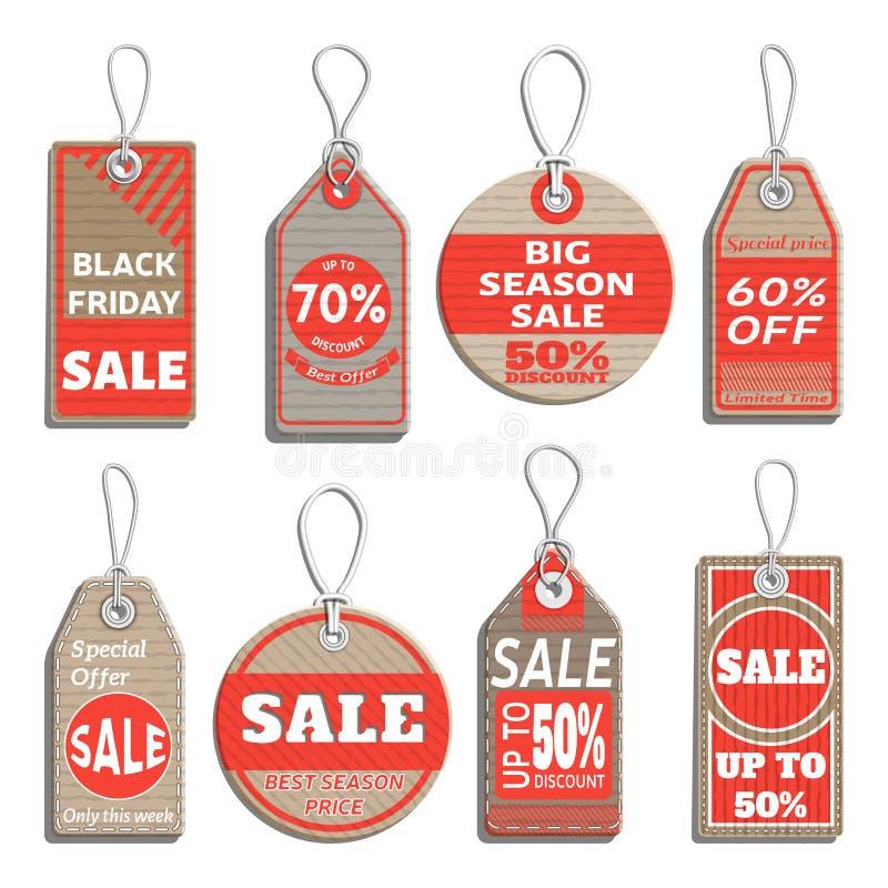 Verschillende kentekens en markeringen op het thema van verkoop, korting, kleinhandel vector illustratie