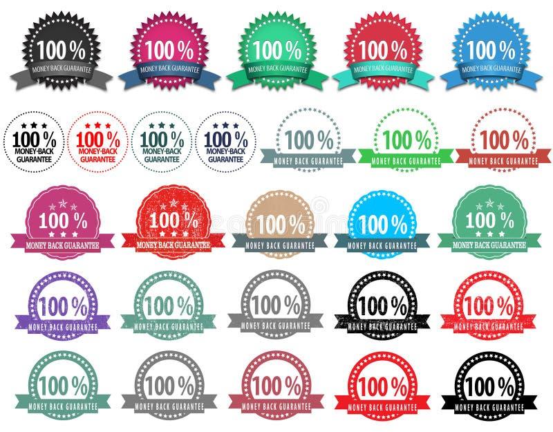 27 verschillende kentekens van de kleuren money-back waarborg stock illustratie