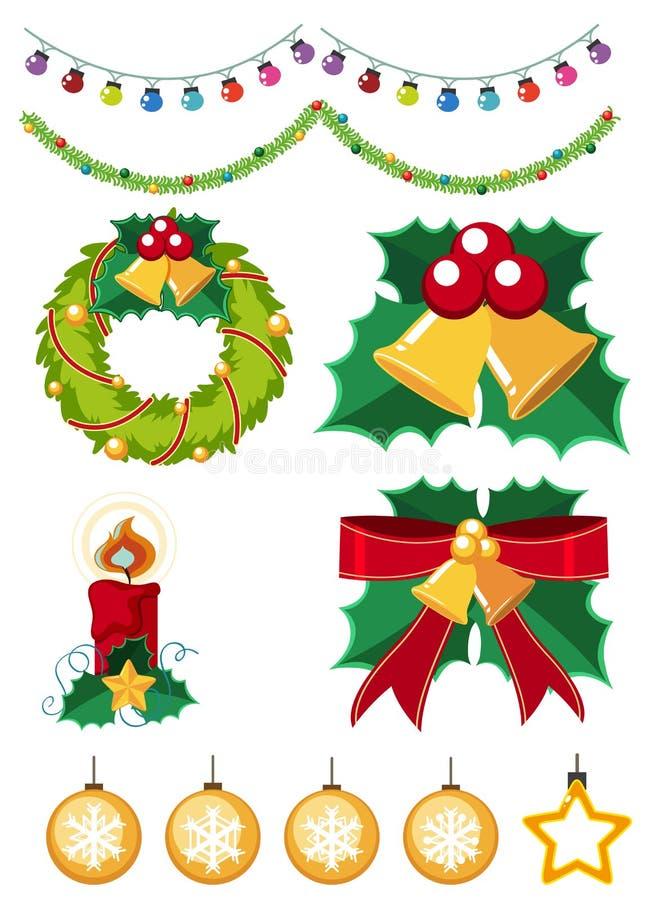 Verschillende Kerstmisornamenten op witte achtergrond royalty-vrije illustratie