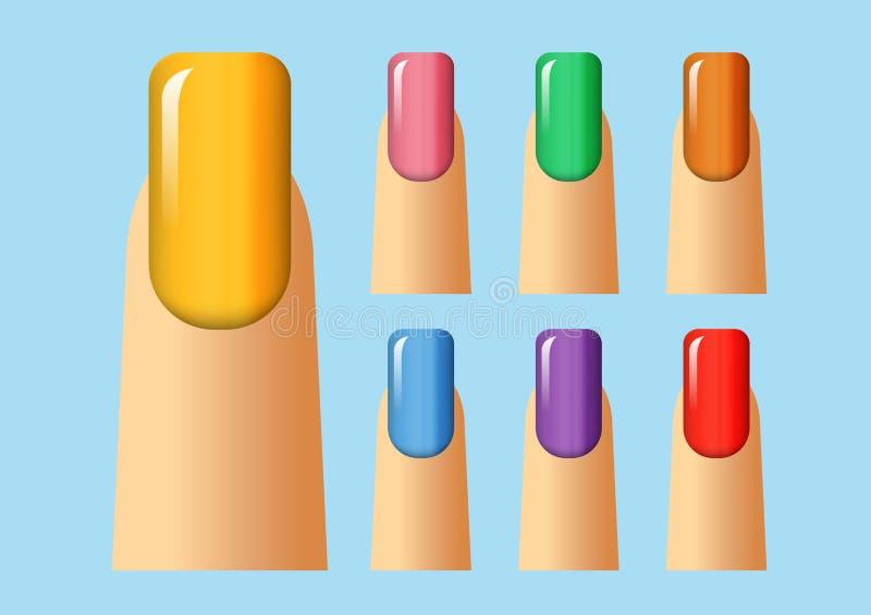 Verschillende kleuren van spijker stock fotografie