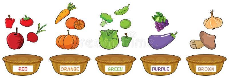 Verschillende kleuren van vruchten en groenten stock illustratie