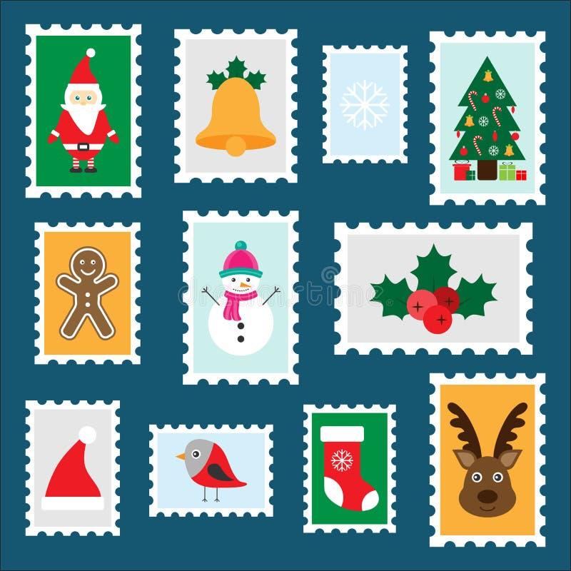 Verschillende kleurrijke Kerstmispostzegels voor kinderen, pret peuteractiviteit voor jonge geitjes, brief aan Santa Claus, reeks vector illustratie