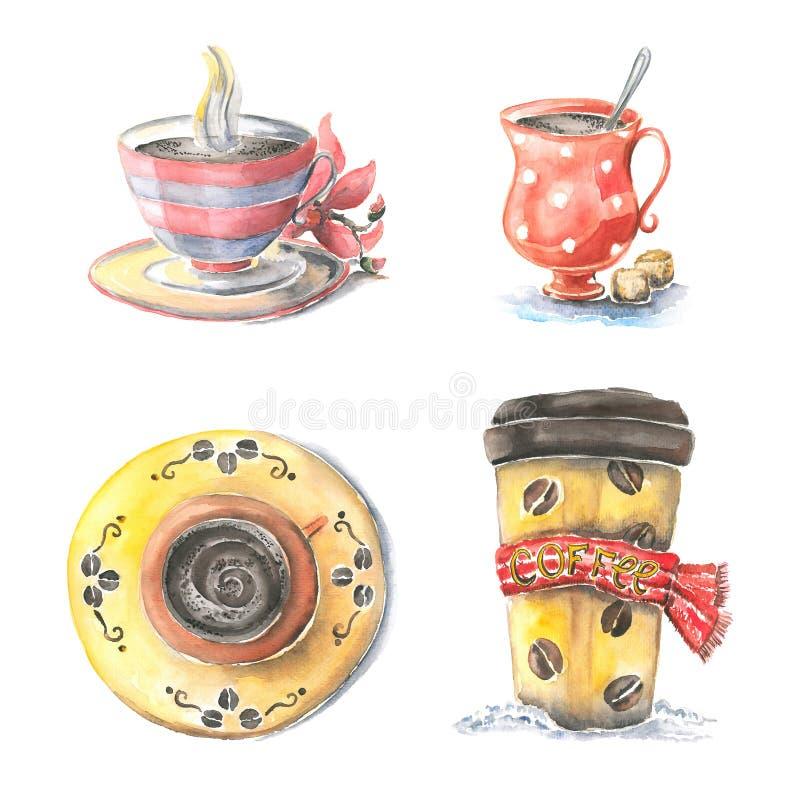 Verschillende koppen van koffie, vector illustratie