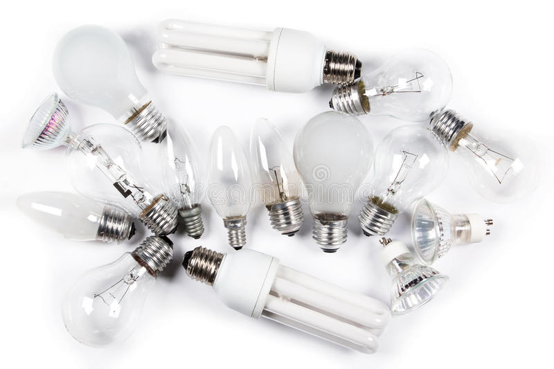 Verschillende lightbulbs stock foto's