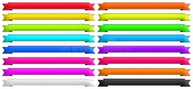 16 verschillende linten van de kleurenbanner vector illustratie